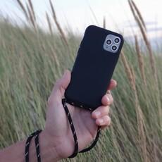 Duurzame telefoontas met koord (black with gold)