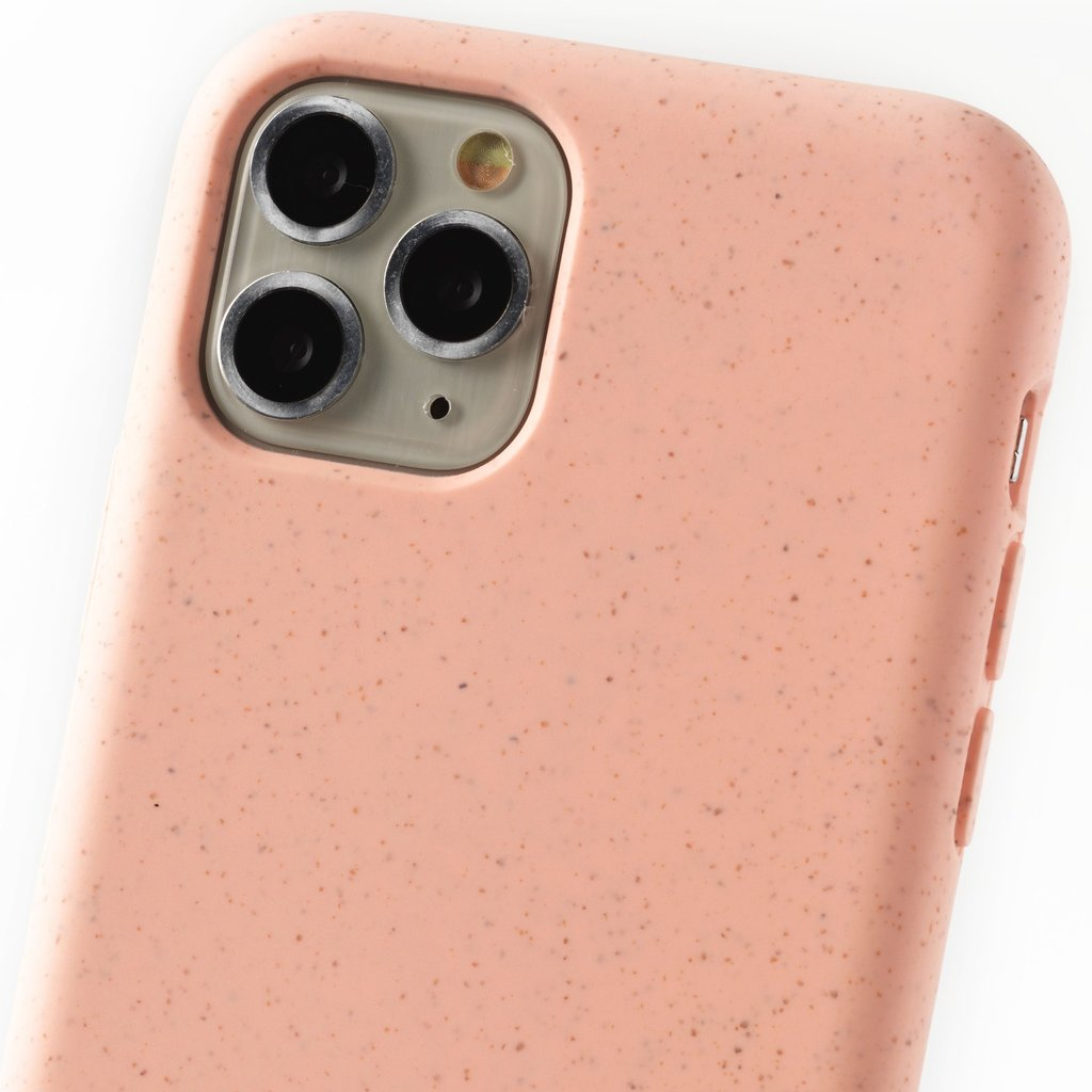 Duurzame telefoontas roze met koord (black and gold)