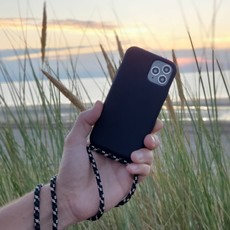 Duurzame telefoontas zwart met koord (camouflage crocodile)