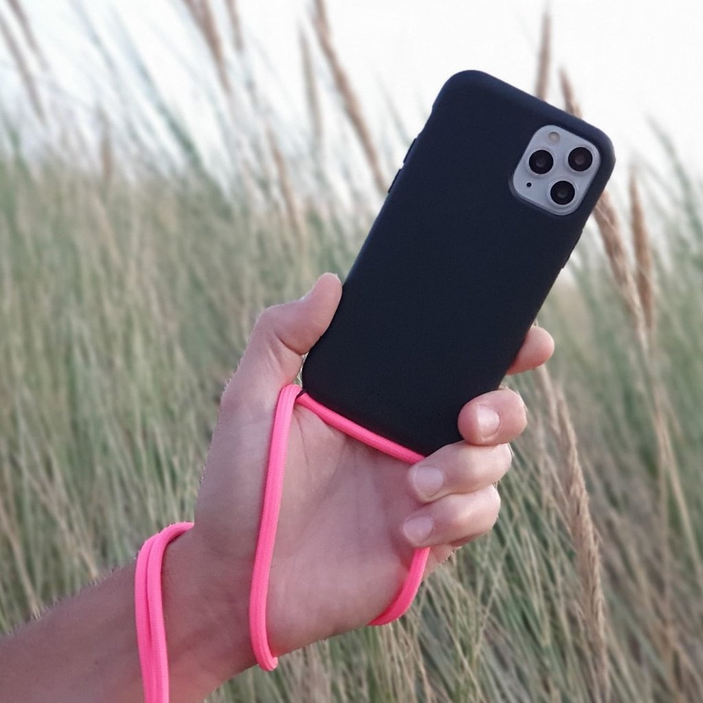 Sustainable black case with cord  (neon pink)
