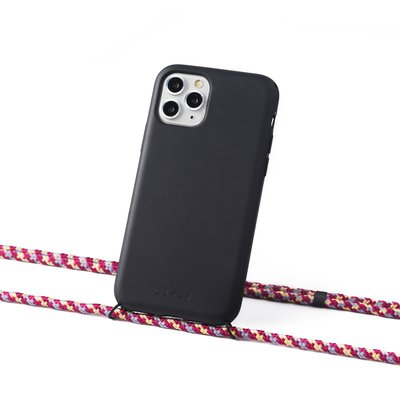 Sustainable black case with cord  (camouflage aubergine)