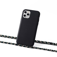 Sustainable black case with cord  (camouflage crocodile)