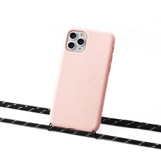 Sustainable pink case with cord (black and gold)