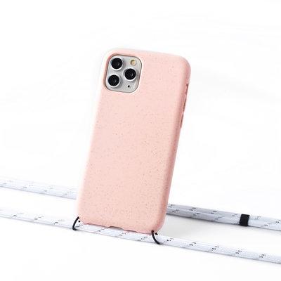 Duurzame telefoontas roze met koord (white silver stripes)