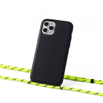 Duurzame telefoontas zwart met koord (neon yellow)