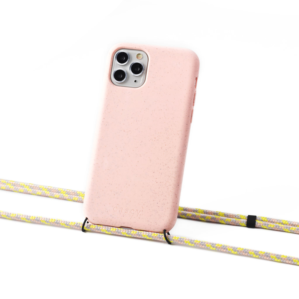 Sustainable pink case with cord (salmon camouflage)