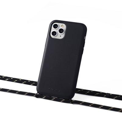 Duurzame telefoontas zwart met koord (black with gold)