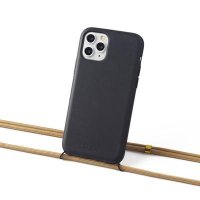 Duurzame telefoontas zwart met koord (khaki)