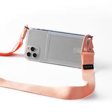 Transparante telefoonholster met ruimte voor pasjes en roze band