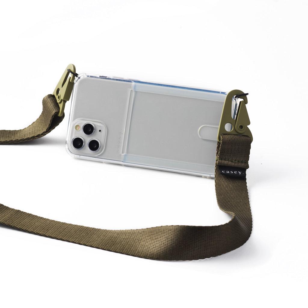 Transparante telefoonholster met ruimte voor pasjes en groene band