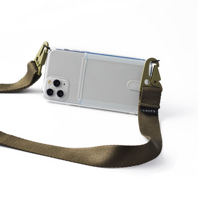 Transparent phone holster with cardholder and green band