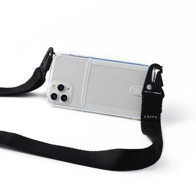 Transparante telefoonholster met ruimte voor pasjes en zwarte band