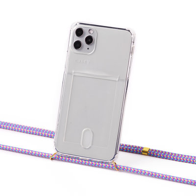 Transparent case with cardholder and lila cord