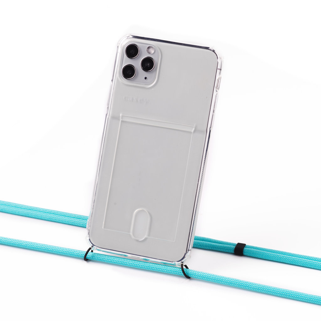 Transparent case with cardholder and turquoise cord
