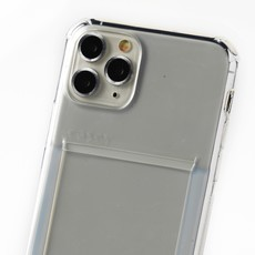 Transparent case with cardholder and grey cord
