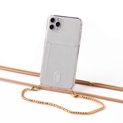 Transparent case with cardholder and a chain-cord combi