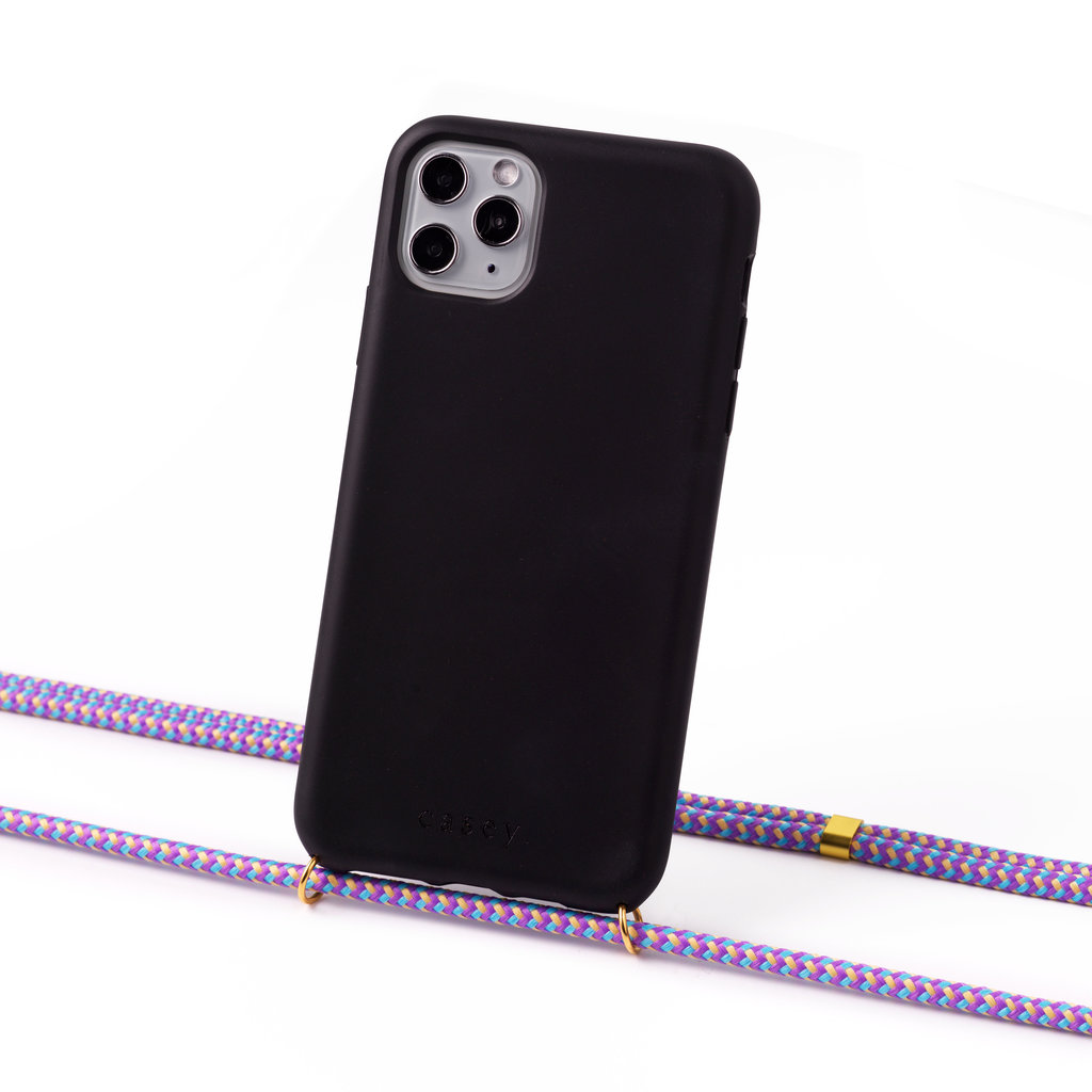 Sustainable black case with cord (lila camouflage)