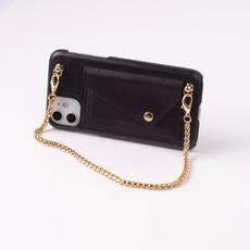 Zwarte telefoonclutch met korte goudkleurige ketting