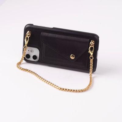 Black phoneclutch with short golden chain