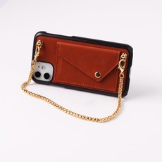 Brown crossbody phoneclutch with short chain