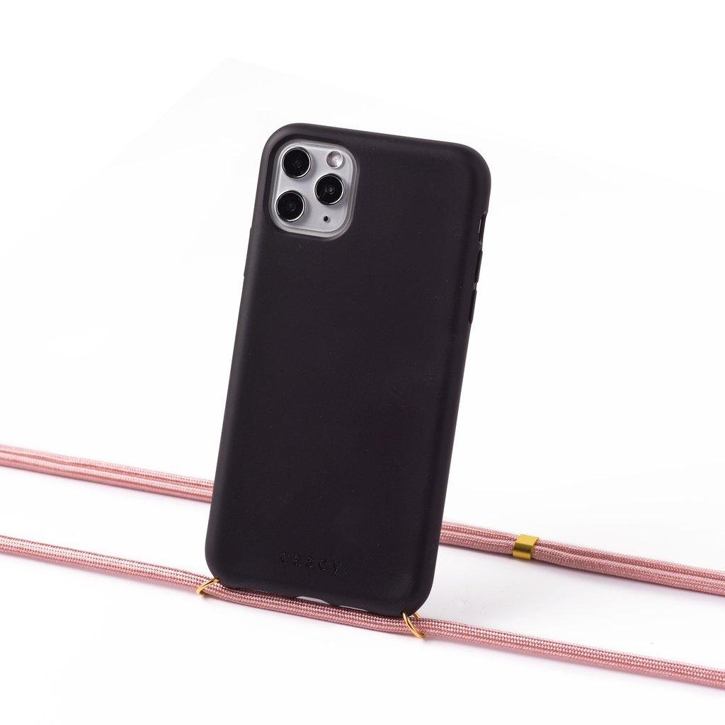 Duurzame telefoontas zwart met koord (scandinavisch roze)