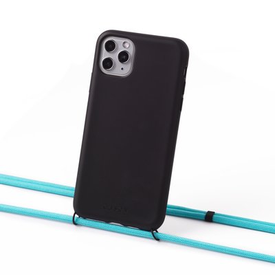 Sustainable black case with cord (turquoise)