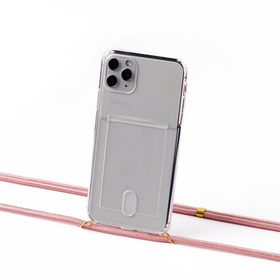 Transparent case with cardholder and pink cord