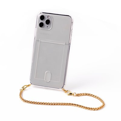Transparent case with card holder and short gold colored chain