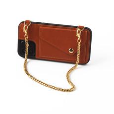 Bruine telefoonclutch met korte goudkleurige ketting