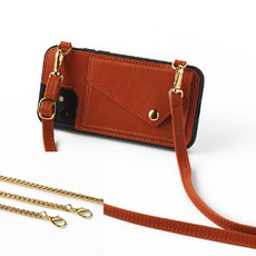 Brown phoneclutch with leather band and necklace