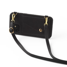 Black clutch with leather band