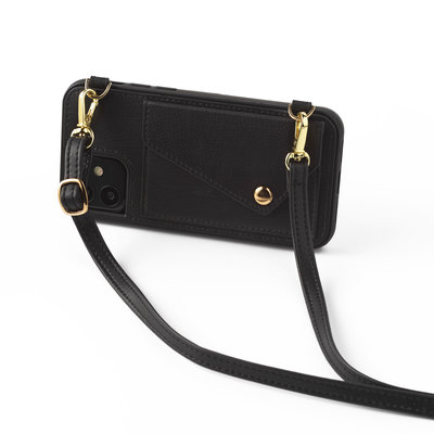 Black phoneclutch with leather band