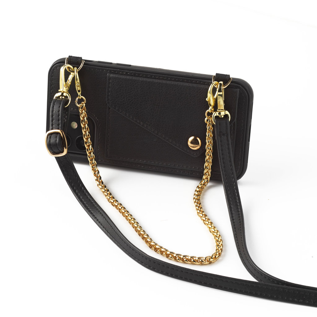 Black phoneclutch with leather band and short necklace