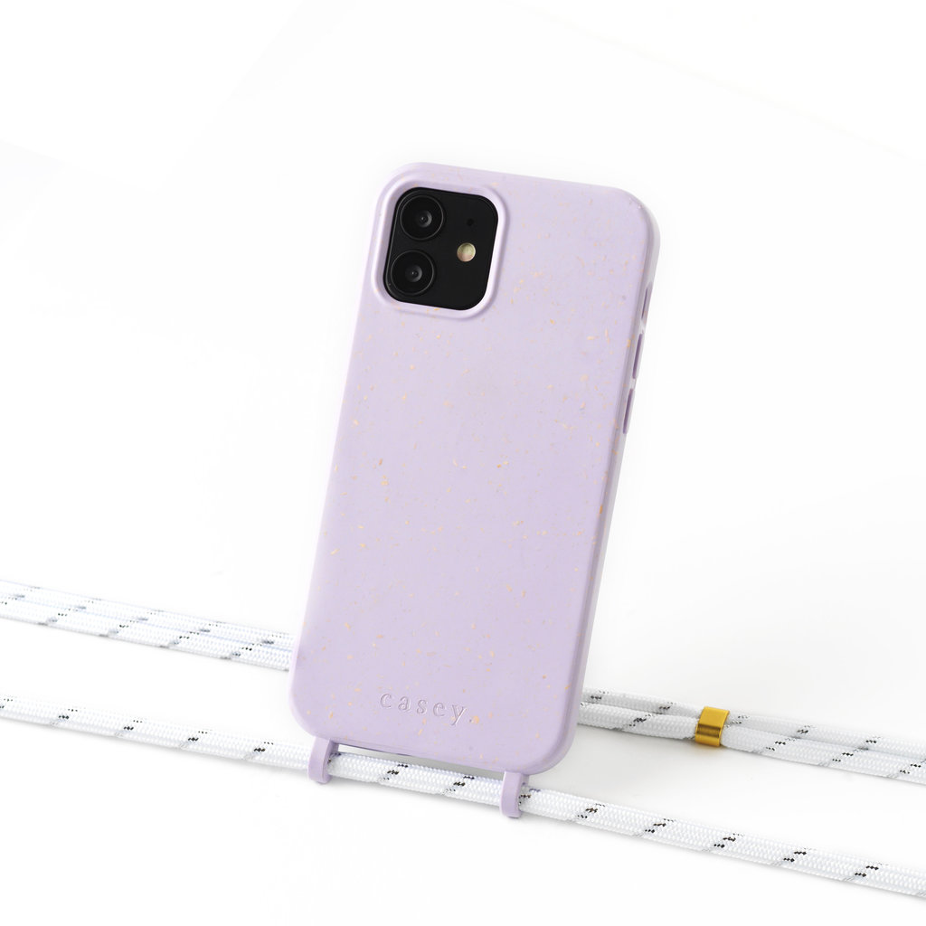 Sustainable lila  case with cord  (white silver stripes)