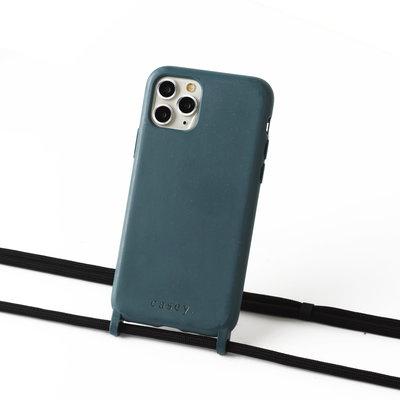 Duurzame telefoontas grijsblauw met koord (zwart)