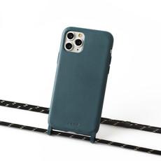 Duurzame telefoontas grijsblauw met koord (zwart en goud)