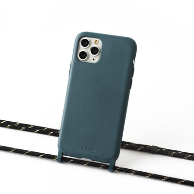 Sustainable grey-blue case with cord  (black and gold)