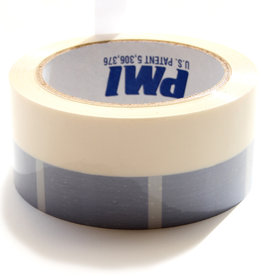 PCT Polyesther Split Tape, Wit met blauwe blokken rand voor makkelijk  inscheuren en verwijderen
