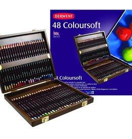 Derwent Luxe-pakket kleurpotloden Derwent Coloursoft 48 stuks in luxe houten kist