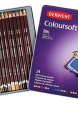 Derwent Actief-pakket kleurpotloden Derwent Coloursoft 24 stuks in metalen box