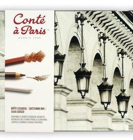 ContŽ a Paris set Tekenpotloden & krijt Conte a Paris Esquisse zwart wit aarde 18 delen, 12x potloden, 3x krijt, 1xkneedgum, 1xdoezelaar, 1tortillon
