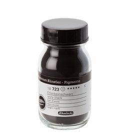Schmincke Pigment 100 ml Zwart Ivoor/ Ivory Black (PBk9) 78% CaPhO4, 10% C, 10% CaCO3 no 723 Schmincke