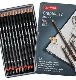Derwent set Grafiet Potloden Derwent 12 stuks 4H 6B Designer in metalen doos 34214