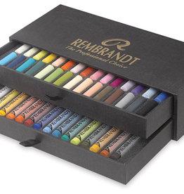 Talens Luxe-set Pastelkrijt/ Softpastels Talens Rembrandt 15 hele + 30 halve pastels Assorti in zwartkartonnen doos, 2 laden