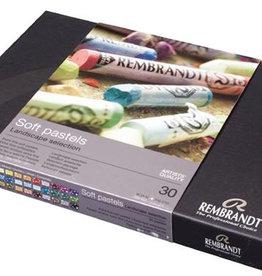 Talens Actief-set Pastelkrijt/ Softpastels, Talens Rembrandt 30 hele pastels Assorti in zwartkartonnen doos