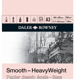 Daler-Rowney Blok Tekenpapier A3 Daler-Rowney Glad Heavy Weight Smooth 220 grs 25 vel