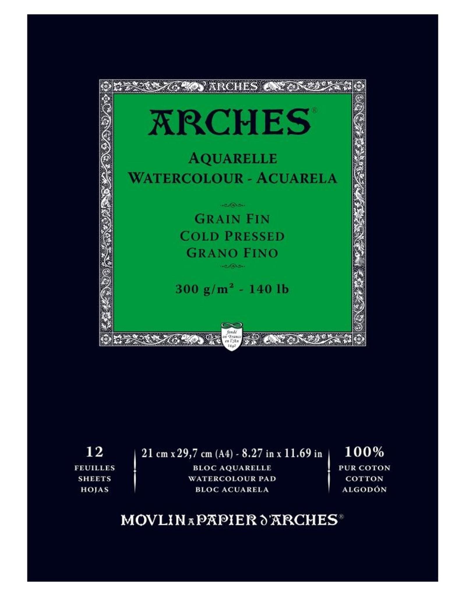 Arches staat voor topklasse aquarelpapier in drie soorten korrel: Niet - ruw, koud - middel, en heet -fijn- geperst. Alle blokken zijn in de stof gelijmd. Ze voelen voor de beginner misschien wat kartonnig aan, maar leveren de allermooiste verfvlek.