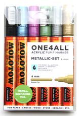 Molotow Let op! Metallic markers kun je niet ongestraft met normale markers mengen! Molotow Markers zijn beroemd om hun heerlijke verf/inktafgifte. Ze zijn eventueel hervulbaar. Het wit dekt extreem goed, de kleuren zijn dekkend en intens. Je kunt ze ook verfstfi