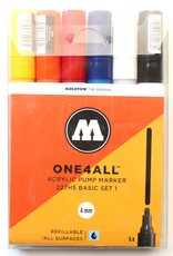 Molotow Molotow Markers zijn beroemd om hun heerlijke verf/inktafgifte. Ze zijn eventueel hervulbaar. Het wit dekt extreem goed, de kleuren zijn dekkend en intens. Je kunt ze ook verfstfiten noemen: de acrylvulling hecht op zeer veel ondergronden.