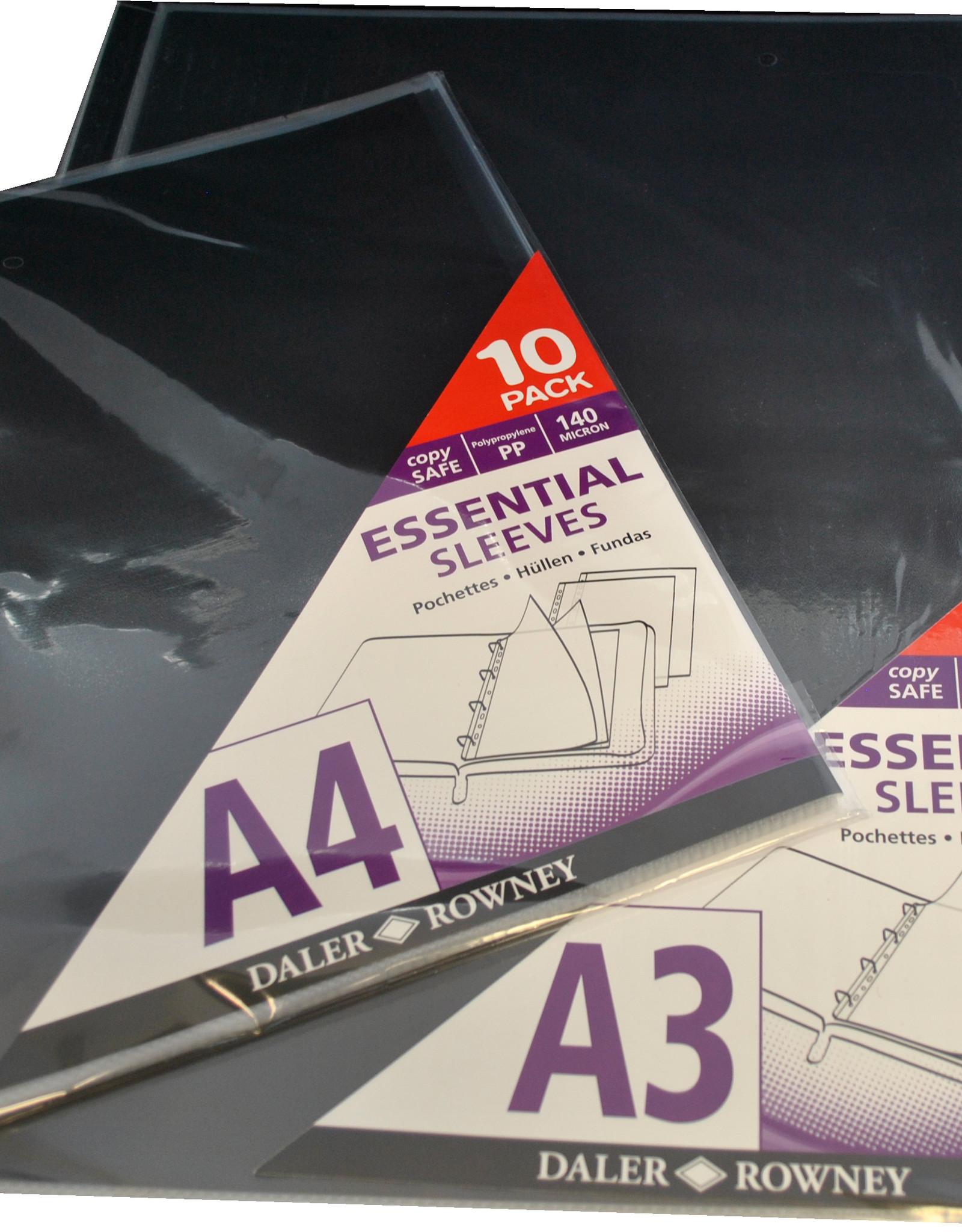 Daler-Rowney 10 stuks Daler Rowney glasheldere inleg zichtmappen voor Artcase A4 30,5x22,8cm glasheldere inleg zichtmappen met gestandariseerde gaten